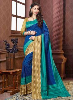 Art Silk Blue, Beige and Sea Green Digital Print Stylish Saree