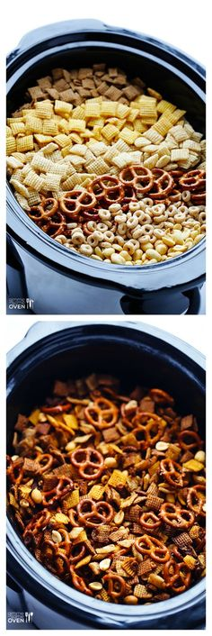 Slow Cooker Chex Mix -- the classic mix you love, made in your crock pot! | http://gimmesomeoven.com #slowcooker #crockpot (Ranch Chex Mix)