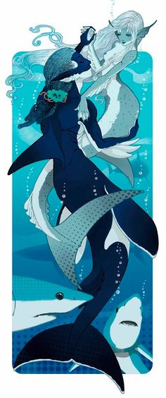 Orca and shark merfolk merman and mermaid Art from Marga Biazzi. Shark Mermaid, Mermaid Art, Magical Creatures, Fantasy Creatures, Sea Creatures, Art And Illustration, Character Inspiration, Character Art, Mermaids And Mermen