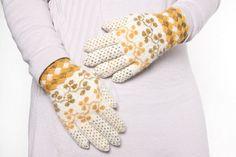 Estonian wool gloves knitted by Kati Kuusemets. Traditional strawberry leaf pattern.
