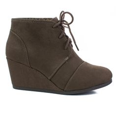 Rex Deep Taupe lace up oxford ankle bootie round toe high hidden wedge heel womens shoe
