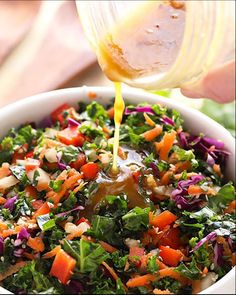 This Asian Salad Dressing is made with garlic, apple cider vinegar, maple syrup, and a little soy sauce. It's the perfect healthy salad dressing to top on your favorite kale salad or use as a chicken marinade! Healthy Salad Recipes, Vegetarian Recipes, Simple Salad Recipes, Salad Dressing Recipes, Asian Vinaigrette Dressing Recipe, Asian Salad Dressings, Asian Salads, Oriental Salad, Asian Cooking