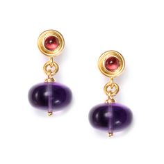 SYNA- 18K yellow gold earrings with amethyst, rubellite & diamond . $3,800