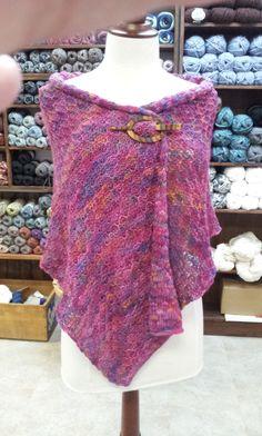 Machine knit shawl in Misti Alpaca Pima Silk Hand Paint yarn using tuck stitch.