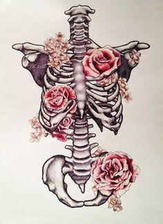 Ribs. Skeleton. Flowers.