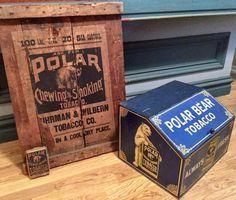 RARE Original Polar Bear Tobacco Advertising Display Cigar Store, Display Cases, Store Displays, Tins, Polar Bear, Decorative Boxes, Advertising, Country, Antiques