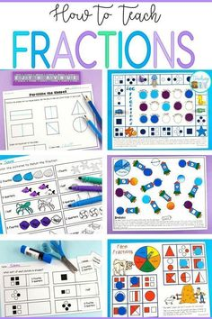 Fractions can be difficult to understand for our younger learners. When introducing fractions the first concept to teach is equal and unequal parts. Fraction Games, Fraction Activities, Math Resources, Math Games, Math Activities, Maths 3e, Learning Fractions, Math Fractions, Teaching Math