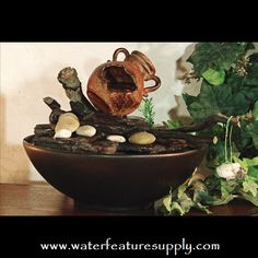 Come see us at https://www.waterfeaturesupply.com/waterwalls/tabletop-water-fountains.html for more information on these wonderful desk water features.    For an incredibly low price, this water fountain operates off a standard 110 AC volt outlet and can be installed in minutes.