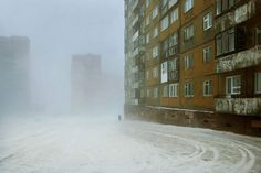 """With his series """"Below Zero"""", the French photographer Christophe Jacrot plunges us into the most extreme winters in the world. Norilsk (Siberia, Russia) is the… Christophe Jacrot, Snow Blizzard, French Photographers, Street Photo, Winter Is Coming, Cinematography, Abandoned, Around The Worlds, The Incredibles"""
