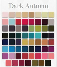 (Dark Autumn can wear also some Bright Spring colors) = they are both neutral warm seasons influenced by winter + both are one step away from their True season, both are warm, and both are the darkest and brightest of their group.