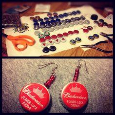 Recycled bottle cap earrings ! #diy