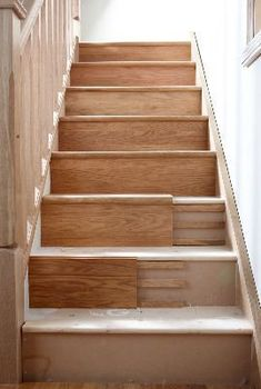 icu ~ Pin on Stairs ~ 8 Nov Stair Klad Conversion System - String Veneer Redo Stairs, House Stairs, Carpet Stairs, Basement Stairs, Basement Ideas, Removing Carpet From Stairs, Painted Stairs, Wooden Stairs, Painted Staircases