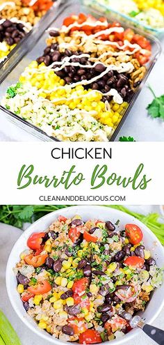 This Chicken Burrito Bowl recipe is an easy and healthy way to meal prep. Made with ground chicken cilantro lime cauliflower rice black beans corn and tomatoes they make a great lunch or a simple dinner for busy weekdays. Watch the video for instructions! Healthy Dinner Recipes For Weight Loss, Good Healthy Recipes, Clean Recipes, Dinner Healthy, Recipes Dinner, Xmas Recipes, Eating Healthy, Snacks Recipes, Healthy Sweets
