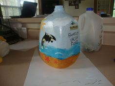 Milk Jug Piggy Bank For vacation or splurge funds. Super Glue the lid on, paint or decorate as desired. Cut with a knife or scissors a slot big enough to  put money in and wa la!!