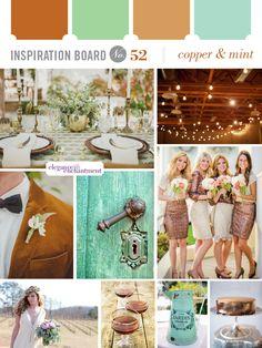 Copper + mint pair up for a unique wedding palette!