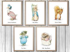 Peter Rabbit Nursery, Set of 5, Beatrix Potter Nursery, Peter Rabbit, Instant Download, Printable Nursery Decor, Beatrix Potter, 8x10""