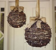 Wrap mini brown lights round twig balls