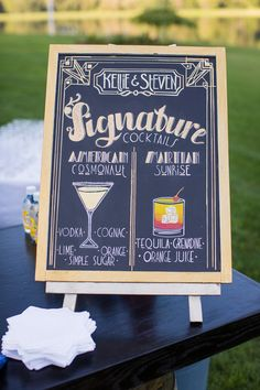"""Glam cocktail hour sign idea - chalkboard sign with pictures of signature cocktails the """"American Cosmonaut"""" and the """"Martian Sunrise"""" {Lovely Valentine Photo + Film}"""
