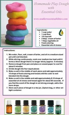 Homemade play dough with essential oils