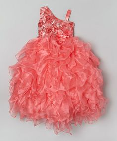 Look at this #zulilyfind! Coral Rosette Ruffle Asymmetrical Dress - Toddler & Girls #zulilyfinds