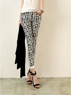 Summer Style 2016 New Black And White Houndstooth Plaid Printing Pants Slim Was Thin Leisure Feet Slim Pants, Stretch Pants, Long Pants, Fashion Pants, Fashion Models, Cheap Pants, Skinny Waist, Plus Size Casual, Aliexpress