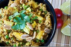 thai quinoa - made just like the recipe, but added regular onions too.  great for a quick dinner when you don't have any meat.