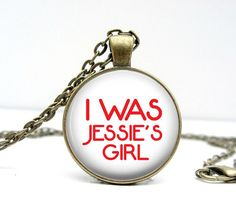 Jessie's Girl Necklace  80s Style  Glass Picture by Lizabettas