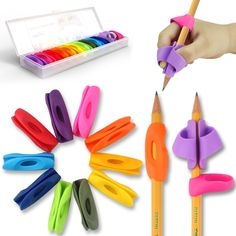5 Color 10 Pack Colored Pencil Grips Posture Correction Training Tools Silicon Ergonomic Pencil Grip Holder for Kids Handwriting