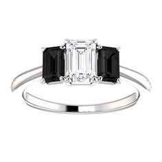 Emerald Cut Three Stone Diamond Ring with Black Onyx 1.00ct 14kt White Gold