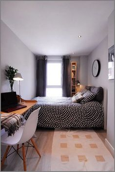 best small bedroom design ideas for your kids 8 Small Apartment Bedrooms, Small Room Bedroom, Small Rooms, Small Apartments, Home Bedroom, Bedroom Decor, Narrow Bedroom Ideas, Bed Room, Tiny Bedrooms