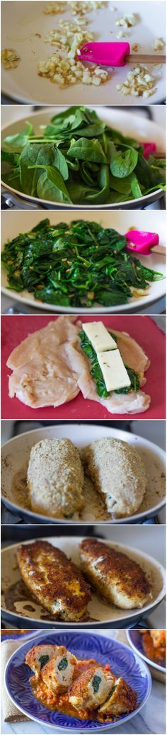 Breaded Chicken Breasts Stuffed with Spinach and Cheese #low-carb #Skinny #healthy