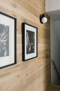Wood stained shiplap + modern shiplap + framed black and white photos in the hallway + orb sconces White Shiplap, Stained Shiplap, Wood Panel Walls, Wood Accent Walls, Wood Paneling, Shiplap Bathroom, Shiplap Fireplace, Half Walls, Pallets