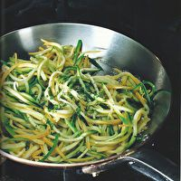 Pan Steamed Zucchini and Yellow Squash Noodles by Techniques of Healthy Cooking