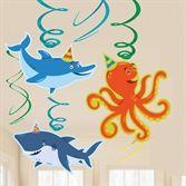 Party Deko | Meerestiere - 12 Spiralhänger