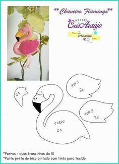 Molde de Flamingo - Ver e Fazer #feltro #moldes #artesanato #atelie #molde #manualidades #fieltro #bichinhos #art #mimos #lembrancinhas #felt #felting #diy #handmade #fazer #crafts #feltromaniacas #feltrofacil #lovefeltro #love #feltroimaginario #amigasdofeltro #moldesdefeltro #moldeseapostilas