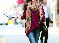 oversize sweater + pashmina