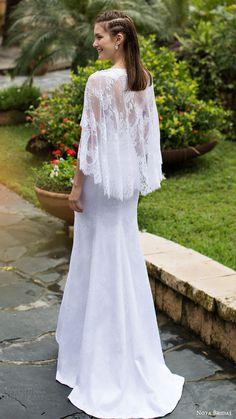 noya bridal 2016 cape flutter sleeves v neck sheath lace wedding dress (1207) bv bohemian romantic