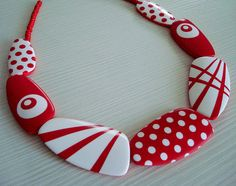 Polymer clay polka dot by malo ustvarjalno, via Flickr - BEAUTIFUL~
