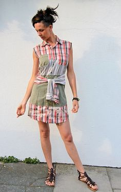 Upcycled Shirt Dress Red Plaid & Beige Stripes      by darrylblack, $75.00