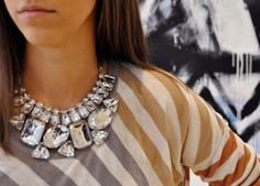 I really like this for some reason. // costume jewelry, striped shirt