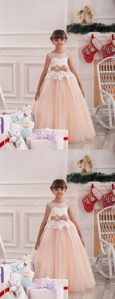 de228172ec Blush Pink Scoop Neck Sleeveless Lace Appliques Long Flower Girl Dresses.  EVERISA