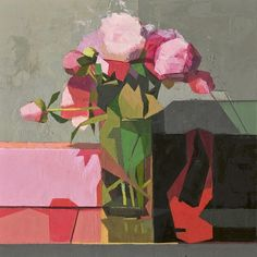 Catherine Kehoe Peonies 2014 oil on linen on panel 8x8 inches