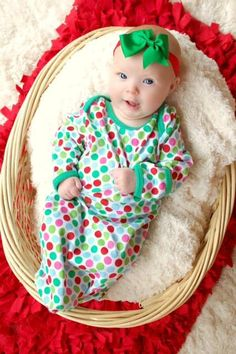 INFANT Gown Christmas Pajamas PRE-ORDER - Closes July 31st on Etsy, $20.00
