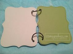 Mini brag book idea using the Top Note Bigz Die from Stampin' Up!, a little card stock, and a couple of o-rings.
