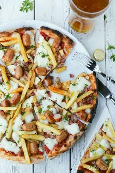 Hot dog and French fry pizza.