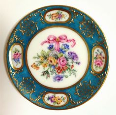 1:12th scale miniature From Japan: Porcelain by Miyuki Nagashima ... Reproductions in miniature of beautiful French Sevres porcelain plates. Inspired by the Wallace Collection, a National Museum in London, England.