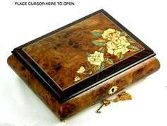 Handwork from Sorrento, Italy, yellow rose music box