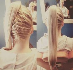 high ponytail with a reverse braid