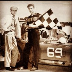 Carroll Shelby & Jim Hall at a race in Mansfield.