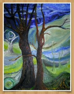 Tree'trees,trees and rolling hills.marton pool shropshire. in oil on canvas